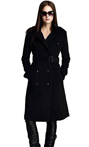 Escalier Solid Zweireiher Damen Warm Winter Wolle Mantel mit Gürtel Gr. 8, Schwarz - Schwarz