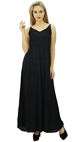 Bimba - robe longue en satin à bretelles spaghetti pour femme Noir