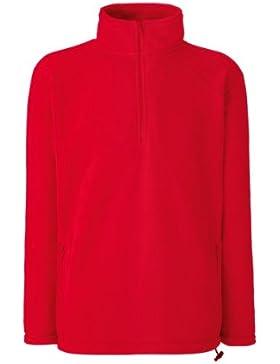 Felpa Pile Uomo Con Mezza Zip E Tasche Fruit Of The Loom Maglia Maniche Lunghe, Colore: Rosso, Taglia: S