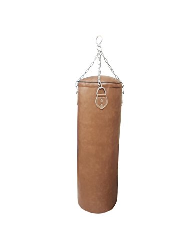 Lisaro Sacco da Boxe Sacco Di Sabbia/120cm,35–38kg riempito con resti di tessile, per quattro punti–Catena, materiale vinile (PZ) colore Marrone