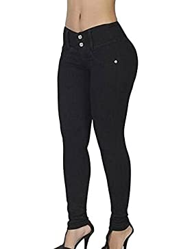 Mujer Casual Dos Botones Elastico Denim Jeans Pantalones De Longitud Completa