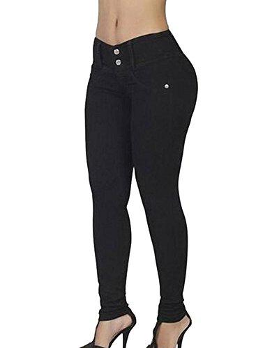 Donna a vita alta leggings skinny jeans pantaloni in denim lunghi matita pantaloni con elastico nero m