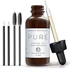 Organic Castor Oil - 2oz - 100% Pure - Cold Pressed - USDA Certified - Hexane Free - For Hair, Skin, Eyelashes, Eyebrows & Nails With Treatment Applicator Kit - by Foxbrim,