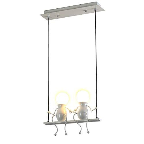 Creativo Iluminación colgante LED Moderno Doble Gente pequeña Colgante de luz Luces colgantes Comedor Planchar Muñeca de dibujos animados lámparas de araña Luces de techo 2×E27 (Blanco)