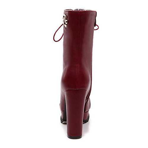 VogueZone009 Damen Eingelegt Hoher Absatz Reißverschluss Rund Zehe Stiefel mit Metallisch Weinrot