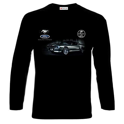 662e24fe9bcd Ford Mustang Shelby Eleanor GT 500 from 1967 Logo Auto Sport Cars Man Homme  Printed Long Sleeve T-Shirt (M, Black)