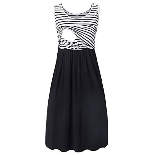 WUSIKY Kleid Damen Mama Schwangere Stillzeit Gestreifte Tunika Stillen Sommer Umstandskleid 2019 Damen Umstandskleid(Medium,Schwarz)