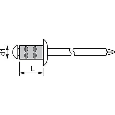 Gesipa in Grip mehrbereichsniete piatta testa rotonda in alluminio con acciaio mandrino, 3,2x 11mm, 1.000pezzi, 104451162