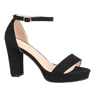 Elara Damen Pumps | Knöchelriemchen Sandaletten | Bequeme High Heels | Chunkyrayan WW100 Black-37