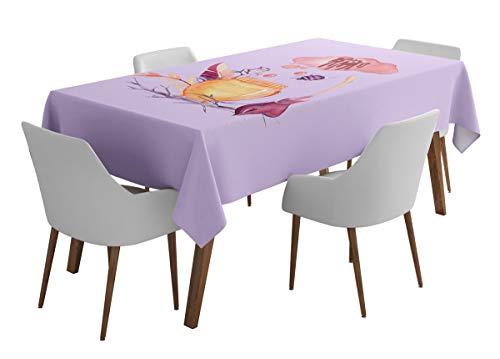 Timingila Lila Halloween Artikel Halloween Party-Tischwäsche waschbare Tischdecken im Freien-Esstisch-56 x 72 Zoll