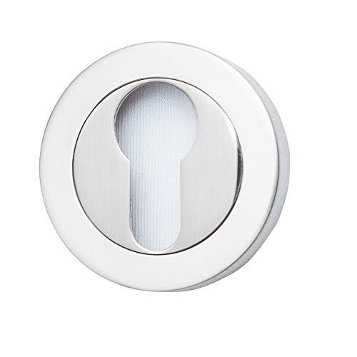 Roseta para cilindro (bocallave) tipo pera de latón. Fabricado en España. Color níquel satinado. Barnizado semi-brillo. Diametro roseta: 50 mm.