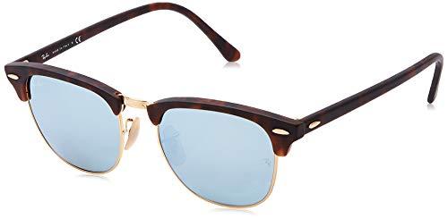 Ray-Ban Unisex Sonnenbrille Clubmaster Braun (Gestell: Havana, Gläser: Silber Flash 114530) Medium (Herstellergröße: 51)