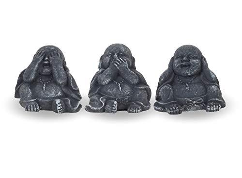 Pullach Hof Buddha 3er Set Dekoration Deko Figur Buddha Grau Schwarz Frostsicher Wetterfest für Innen und außen handgefertigte Keramik -