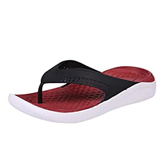 Linkay Slippers for Party Men Boys Students Spring Summer National Rome Beach Pure Colour Male Flip-Flops Shoes Fashion 2019 Blue Red (Red, 6.5 UK)