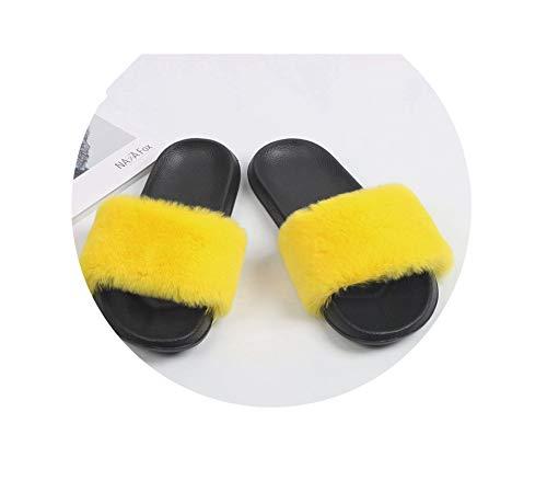 Hottest Faux Fox FurSlides Summer Beach Fluffy Slippers 100% Fur Flip Flops Sandals Shoes,Yellow Rabbit Fur,7.5 Stiletto Heel Ankle Tie