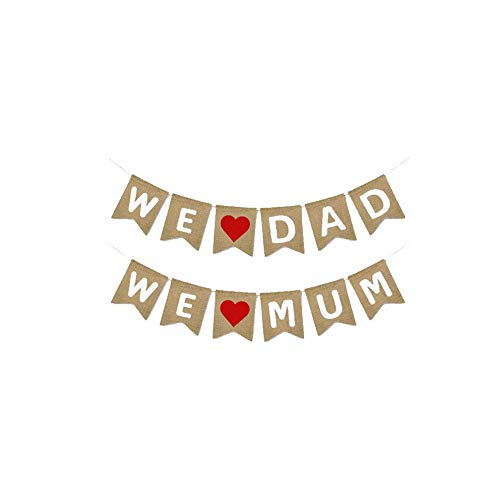 Sungpunet Burlap Banner Set We Love Mom Dad Banner für Muttertag Vatertag Foto Props Partei-Dekoration 1 Sets