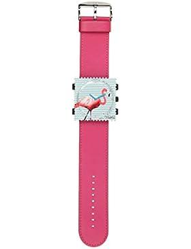S.T.A.M.P.S. Stamps Uhr komplett - Zifferblatt Pink Flamingo mit Lederarmband hot pink