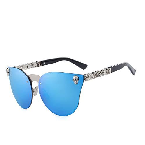 WTACK ModeFrauen Spiegel Brillen Schädel Rahmenmetallsonnenbrille Uv400