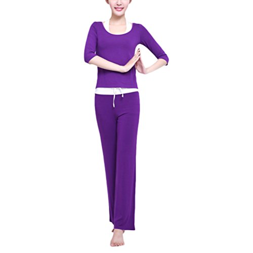 Zhuhaitf Haute qualité Womens Elegant Yoga Three-piece Set Athletic Fitness Sportswear Multi-style Dark Purple