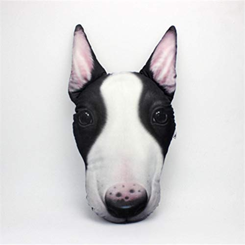 �berwurfkissen, 3D-Hundekopf, Cartoon-Plüschkissen, lustiges Weihnachts-, Geburtstagsgeschenk, niedliches Tier-Plüschtier Bull Terrier ()