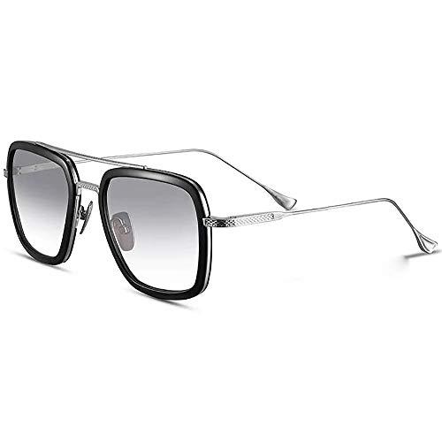 LianSan Tony Stark Sonnenbrille Retro Square Eyewear Aviator Metallrahmen für Männer Frauen Sonnenbrille Downey Iron Man (Grau)