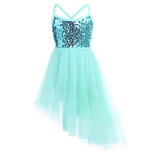 YARUMD Mädchen Kleider Dress Tanzbekleidung Lang Rock mit Tütü Rock Schmetterling Ärmellos für Kostüm Party Hochzeit Prinzessin Kleid 4-15Jahre,Green,S