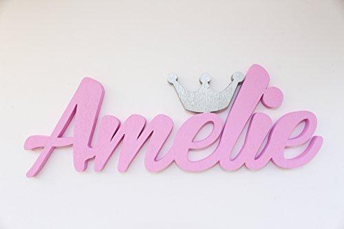 Mia Workshop Mädchen-Name mit einer silbernen Krone,Personalisierung, Kontaktieren Sie den Verkäufer unter dem Link unten, um den Namen, die Farbe und die Größe zu geben und zitiert werden (Siehe Farbkarte)