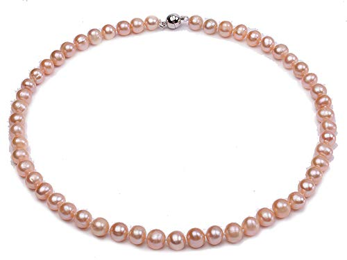 bc94fc20687f JYX Pearl Classic Freshwater Natural 9mm Pink Round Pearl Necklace Strand  18
