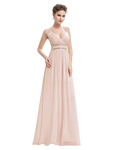Ever-Pretty Vestito da Sera Maxi Donna Sottile di Pizzo Senza Schienale Vestiti da Cerimonia 46 Arrossire