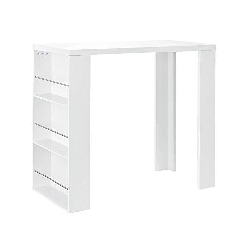 [en.casa] Bartheke/Bartisch / Bartresen + Hausbar mit 3 Fächern - weiß Hochglanz - aus lackiertem MDF