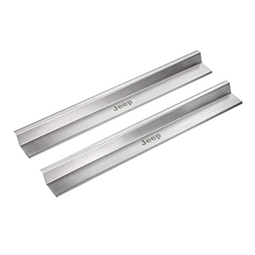 Bosmutus Door Sill Protector Entry Guard J-e-e-p Wrangler JK 2007-2017 2 Door Threshold Plate Protector Pedal Stainless Steel (2pcs, Silver) -