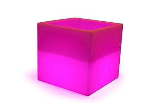 LED Boîte de cube 40 cm Seau à champagne à glacons multicolore RGB 16 couleurs sans câble avec accumulateur et télécommande Etanche et flottant IP65 Extérieur Guirlande lumineuse decoration Luminaire