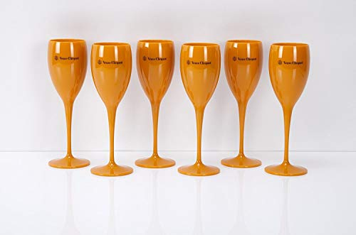 6er Set Veuve Clicquot Trendy Flöten Champagner Gläser aus Kunststoff Acryl Glas Flöte Yellow Design Kelche