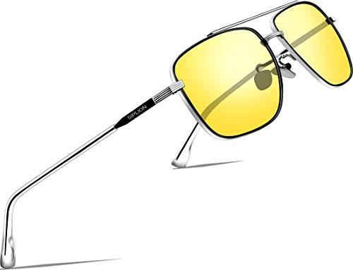 SIPLION Herren hd nachtsichtbrille für brillenträger UV400 Fahrerbrille 6055 (night driving glasses)