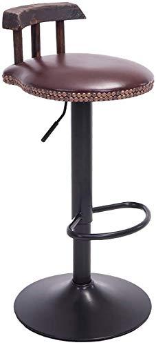 YZjk Retro Höhenverstellbarer Barhocker, amerikanischer Hochhocker, 360-Grad-Drehung, Arbeitshocker, Beauty Roller Hocker, Rückenlehnenstuhl (Farbe: Braun, Größe: 60 cm-80 cm)