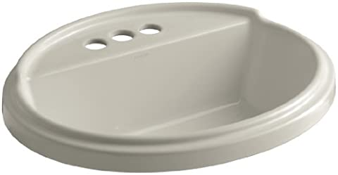 Kohler K-2992-4-G9 Tresham Oval Shaped Self-Rimming Lavatory with 4-Inch Centerset Faucet Drilling,