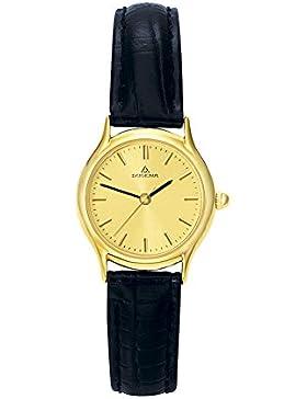Dugena Damen-Armbanduhr Vintage - Traditional Classic Analog Quarz Leder 1626331