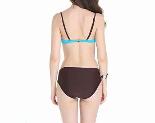 KUWOMINI.Ms. Multi Farbe Bikini Querentwurf Badeanzug Badeanzug LakeBlue