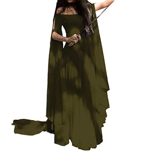 MEIHAOWEI Frauen Mittelalter Pixie Kostüm Feen Spitze Kleid Bohemian Gypsy Tribal Kleider Größe S-5XL (Halloween Gypsy Kostüm Schuhe)
