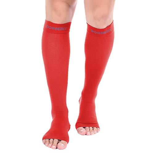 Sox Tattoo (Doc Miller Kompressions-Manschette, offen, 1 Paar, 15-20 mmHg, Feste Unterstützung, abgestufter Druck, Sport, Laufen, Muskel, Genesung, Schienbeinschienen, rot, Medium)