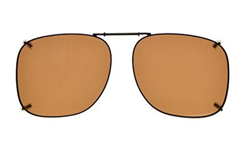 Eyekepper Metallrahmen Felge polarisierte Linse Clip auf Sonnenbrille 53 * 46MM Braunes Linse