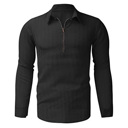 TAMALLU Herren T-Shirt Mode Gestreift Komfortable Slim Lange Ärmel Geschäft Bluse(Schwarz,L)