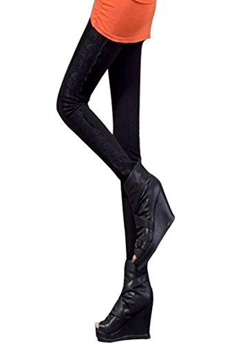 Davidlove-Matita senza cuciture Elasticizzato Skinny Lunghezza Intera Leggings Black Taglia unica