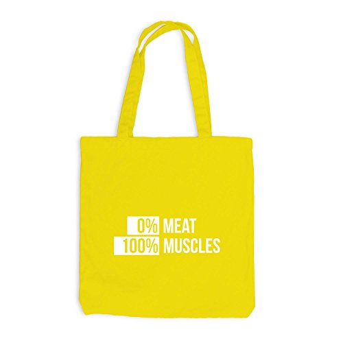 Jutebeutel - Vegetarier Vegan 0% Meat 100% Muscles - Sport Fitness Training Gelb