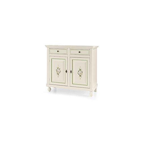 Inhouse srls base credenza, arte povera, in legno massello e mdf con rifinitura in bianco lucido con decori - mis. 113 x 47 x 103