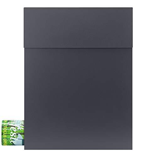 MOCAVI Box 500 Design-Briefkasten anthrazit mit Zeitungsfach hochwertiger Wand-Postkasten wetterfest rostfrei (ral 7016)
