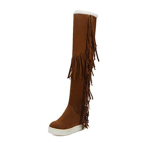 Voguezone009 Femmes Toe Round Wedge Toe Haute Bottes Avec Des Franges Jaunes