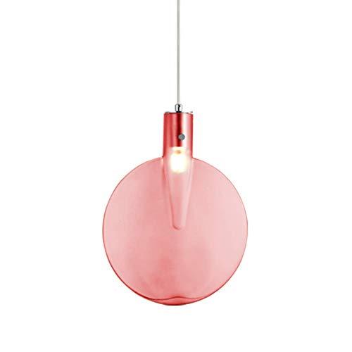 LED Pendelleuchte Moderne Einfach Tischtennisschläger Kreativ G9 Hängelampe Rund Farbig Glas klar Lampenschirm Metall Anhänger Licht Für Wohnzimmer Schlafzimmer Küche Esszimmer Gang Loft Ø24CM,Pink
