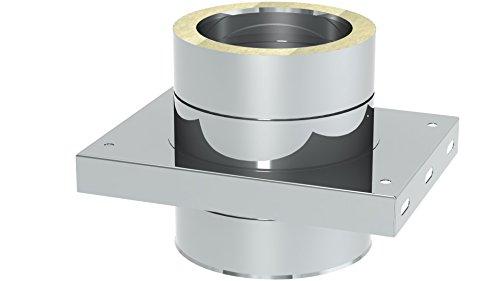 Schornstein - Grundplatte DW doppelwandig für Zwischenstütze; Innen/Außen je 0,5 mm Wandstärke; Ø 250mm Innendurchmesser, Edelstahl