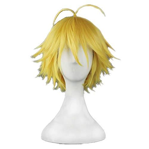 Jungen Für Charakter Kostüm - COSPLAZA Gelb/Golden Kurzes Haar mit Ahoge Junge Männlich Manga Animation Rollenspiel Sin Charakter Cosplay Kostüm Perücke